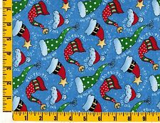 Christmas Hats on Blue with Sprinkles Fat Quarter CCHMIS09158