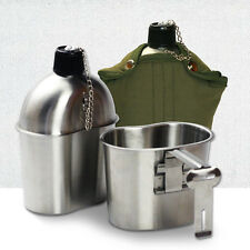 Military Stainless Steel Canteen + Cup Army Green Nylon Canteen Cover