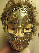 Silver Color Mask Adult Size Costume Elastic Hard Plastic Halloween NIP