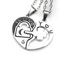 Chic Couple Lovers Choker I Love You Lock and Key Heart Pendant Chain Necklace