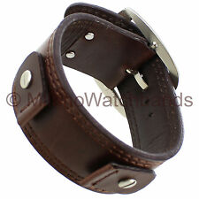 20mm Extra Wide Military Style Cuff Genuine Leather Brown Watch Band Strap