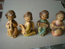 Four Brown Bisque Angels JAPAN  Christmas Singing Angels