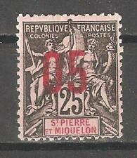 St Pierre & Miquelon 1912,Surcharged,Sc 114,VF Mint Hinged*OG (P-5)