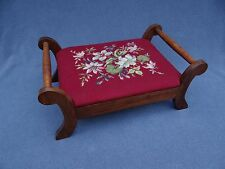 Vintage Mahogany Dark Red with Pink  & Blue Floral Wool Needlepoint Foot Stool