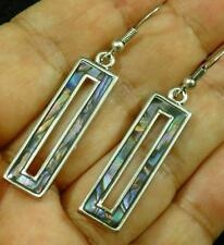 Paua Abalone Shell Inlaid Rectangle Silver Plated Earrings Hypoallergenic #1