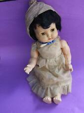 ANTIQUE RODDY ENGLISH DOLL 15'' HARD PLASTIC  W SILKY DRESS & NECKLETS 50.s