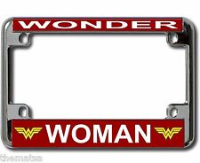WONDER WOMAN METAL MOTORCYCLE BIKE TAG LICENSE PLATE FRAME MADE IN USA