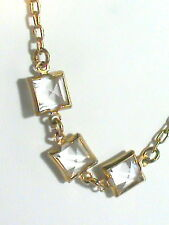 J Crew Crystal Clear Square faceted statement Necklace