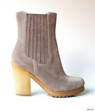 new $795 PRADA gray suede rugged sole BOOTS 36.5 US 6.5 - very comfortable