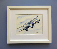 "Original Framed Line & Wash Watercolour ""deHavilland DH89 Dragon Rapide""."