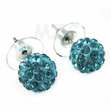 Disco Crystal Ball Beads Silver Plated Light Blue shamballa Stud earrings