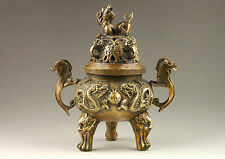 Chinese Old Hand-Made Dragon Statues & Lion Lid Bronze Incense Burner NR