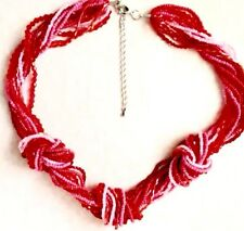 "Knotted Multi Strand Seed Beaded 19""/48cm Necklace in a Range of Crimsons & Red"