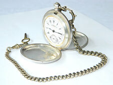 K.SERKISOFF & Co. BILLODES OTTOMAN POCKET WATCH Silver w/ Chain and Key ANTIQUE