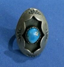 Artisan Vintage Navajo Sterling Silver Shadowbox Turquoise Ring Size 6.75 RS072