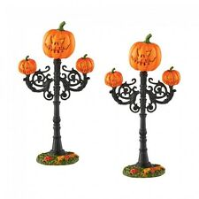 Dept 56 Halloween Village New 2016 SCARY JACK O' LANTERN STREET LAMPS 4054265