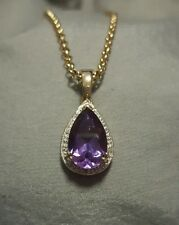 9ct gold Amethyst and Diamond Enhancer on a 9ct gold 50cm Belcher chain.