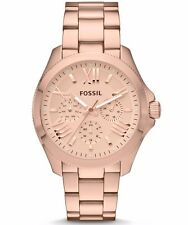 NEW Fossil AM4511 Lady's Rose Gold Steel Bracelet Rose Gold Dial Chrono Watch