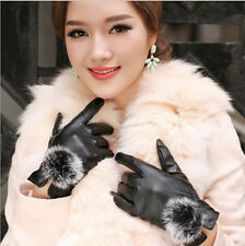 Women Girls Winter Soft fur & Leather Mitten Gloves Warm Driving Gift