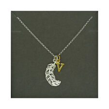 Lily Charmed NEW! Sterling Silver Large Feather & Gold Plated Initial V Necklace