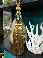 """12"""" Faceted Glass Crystal Tassel Curtain Tieback  SCTB-16/12  (Antique Gold)"""