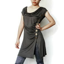 Ladies Gray EMO Top, Steampunk Blouse, T-Shirt, In Spandex Blend Fabric