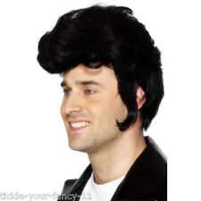Mens 50's Rockstar Wig 60's 70's Elvis Rock n Roll Retro Fancy Dress Grease Zuko