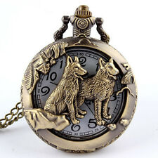 2016 Bronze Wolf Hollow Quartz Pocket Watch Necklace Pendant Women Men's Gifts