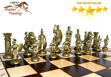 ''SPARTA'' DECORATIVE CHESS SET 50X50!!! STUNNING CHESSBOARD AND WEIGHTED PIECES