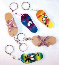 12 HANDCRAFTED PAINTED SANDAL WOODEN  KEY CHAIN mens womens bulk wood sandals