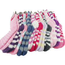 Women Girls Winter Bed Socks Solid Fluffy Warm Soft Thick Home Candy Color WB