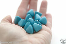 Vintage Opaque Turquoise Lucite Triangle Beads 15mm (10)