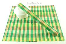 4 Handmade Bamboo Wood Placemats Table Mats, New Collection, Green-Cream P088