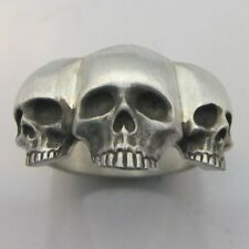 MJG STERLING SILVER MEN'S 3 SKULL RING @ 23 GRAMS . BIKER. GUITAR PLAYER. S 10.5