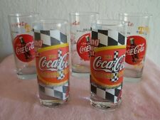 """COCA-COLA """" THE RACING FAMILY""""  SET OF 5 DRINK GLASSES HOUSTON HARVES DATED 1999"""