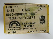 "100 new HOLO-KROME 42012 Allen 6-32 UNC x 1/4"" Cup Point, Socket Set Screws"