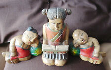 3 x Vintage Chinese Woodenware Carved Wood Figurine/Sculpture