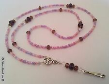 Pinks & Purple Crystals ID Badge Holder HANDMADE Beaded Lanyard Fashion Necklace