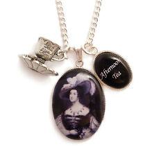 Tea cup necklace Victorian AFTERNOON TEA teatime time gothic goth steampunk