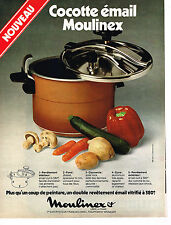 PUBLICITE ADVERTISING 054  1977  MOULINEX  cocotte-minute émail
