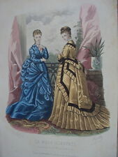 GRAVURE LA MODE ILLUSTREE ROBE ANCIENNE MODE 1874 N° 18