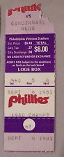 Sept 6 1981 Philadelphia Phillies Vs Cincinnati Reds Ticket Stub