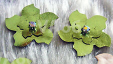 Handmade DIY Faux Leather Flower 8 Metallic Green Iron On Hot Fix Applique Craft