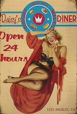 SUPERBE PLAQUE ALUMINIUM PIN UP VINTAGE 20 X 30-DAISY'S DINNER - DECORATION USA
