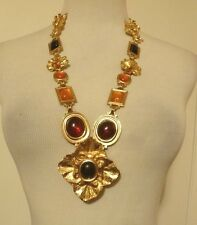Vintage Limit, Edition YSL Yves Saint Laurent Gold Tone Necklace Glass Cabochons