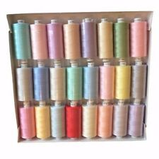 24 x MOON ASSORTED COLOUR POLYESTER SEWING THREADS COTTON 120s Light