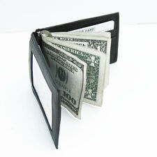 Black GENUINE LEATHER MONEY CLIP Credit card Wallet ID HOLDER  NWT