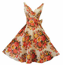"New Vtg 1940s 1950s Spring Floral ""English Rose"" Summer Swing Dress UK 10"