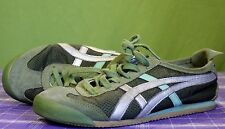 Onitsuka Tiger Shoes Sneakers Sz 8 Green Tan Silver Asics Mexico 66 Womens
