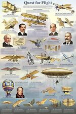 QUEST FOR FLIGHT POSTER (61x91cm) Aviation History EDUCATIONAL CHART NEW